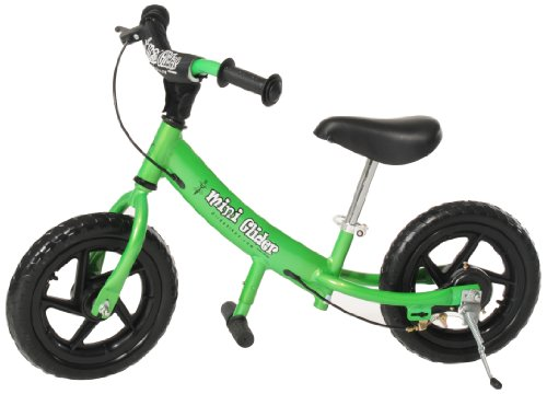Mini Glider Kids Balance Bike with Patented Slow Speed Geometry (Green)