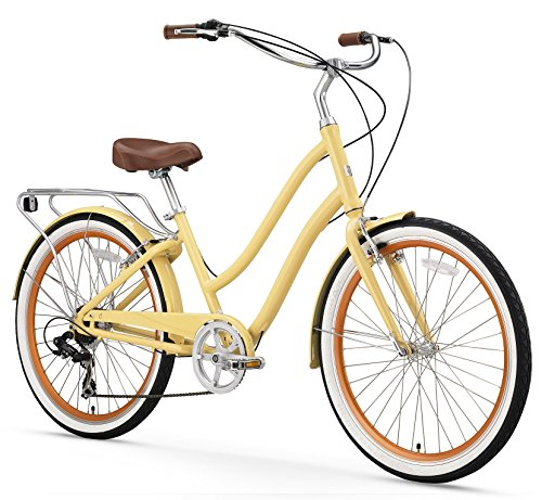 sixthreezero EVRYjourney Women's 26-Inch 7-Speed Step-Through Touring Hybrid Bicycle, Cream