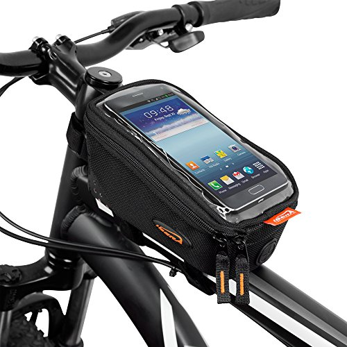 Ibera Bicycle Top Tube Phone Bag for 5″ – 6″ Screen Size, Bike Frame Strap Attachment Mount