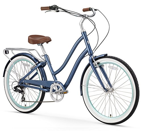 sixthreezero EVRYjourney Women's 26-Inch 7-Speed Step-Through Touring Hybrid Bicycle, Navy