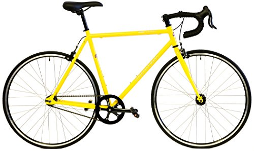 "Quality Windsor Hour Plus Single Speed Track Bike Fixie Fixed Gear Bicycle (Yellow, 58cm – fits most 5'11"" to 6'1″)"
