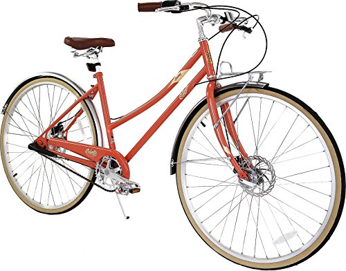 Columbia Bicycles Relay 700C Women's Vintage 3-Speed City Cruiser Bike, Coral, 18″/One Size