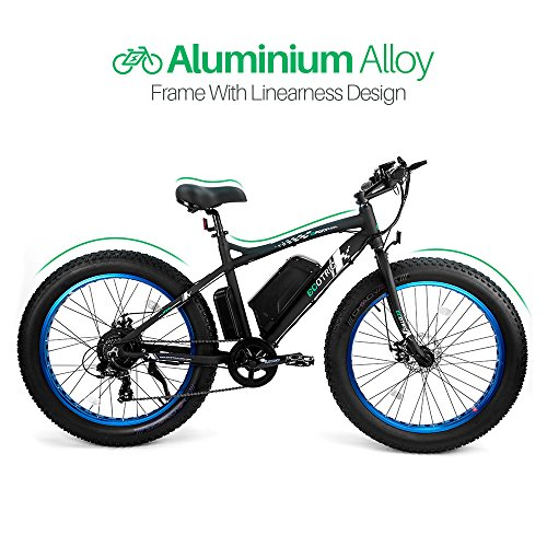 ECOTRIC Fat Tire Electric Bike Beach Snow Bicycle 4.0 inch Fat Tire ebike 500W Electric Mountain Bicycle with Shimano 7 Speeds Black/Orange Lithium Battery Electric Mountain Bicycle … (Blue)