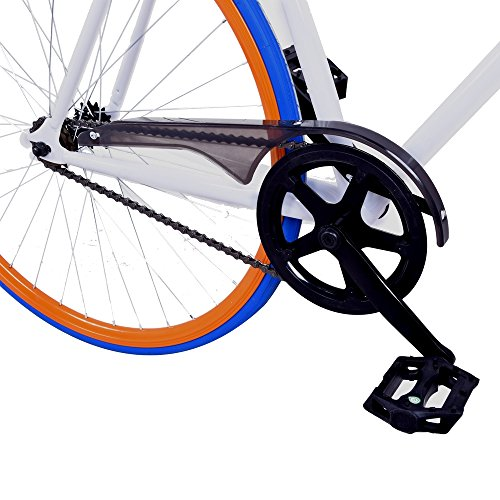 Royal London Fixie Fixed Gear Single Speed Bike – White/Orange/Blue