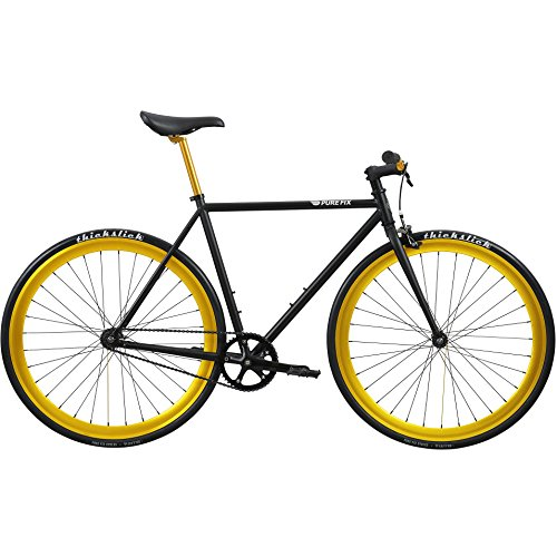 Pure Fix Original Fixed Gear Single Speed Bicycle, India Matte Black/Babylon Gold, 50cm/Small