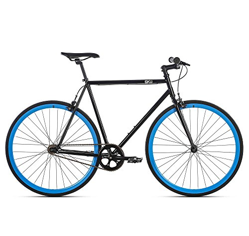 6KU Shelby 4 Fixed Gear Bicycle, Gloss Black/Blue, 55cm