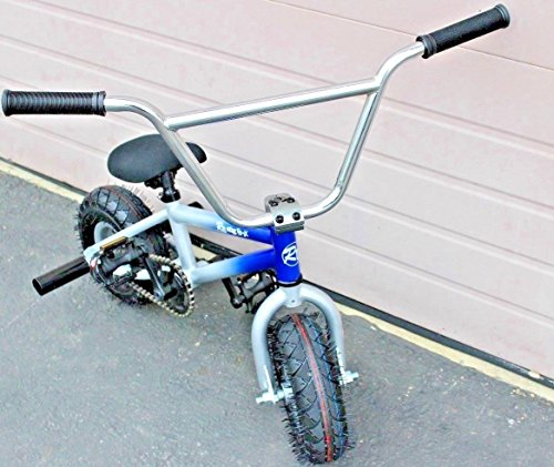R4 Pro Complete Mini BMX Stunt Bicycle, Blue Silver W/Pegs