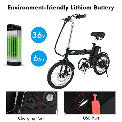 Tomasar 16 Inch Folding Electric Bike, E-Bike with 36V 6Ah Lithium Battery
