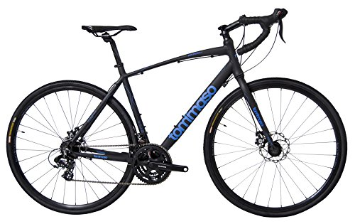Tommaso Siena – Shimano Tourney Gravel Adventure Bike With Disc Brakes Perfect For Road Or Dirt Touring, Matte Black – Medium