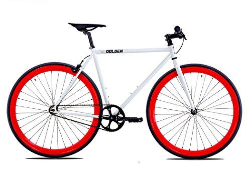 Golden Cycles Single Speed Fixed Gear Bike with Front & Rear Brakes (Diablo 55), White/Red