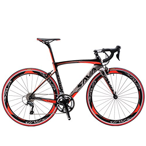 SAVADECK T700 Carbon Fiber 700C Road Bike with Shimano 3000 18 Speed Derailleur System and Double V Brake (Red,48cm)