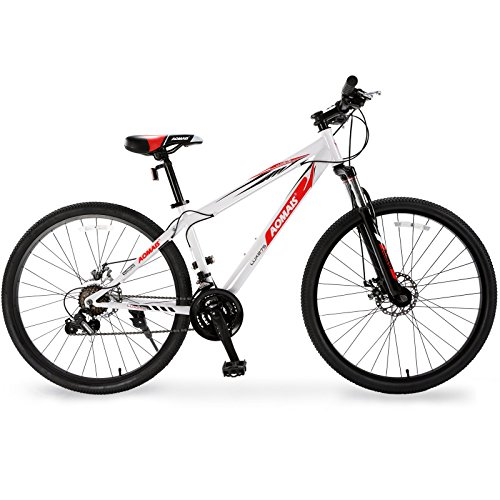 Uenjoy 27.5″ Mountain Bike 21 Speed Hybrid Bicycle for Adult Front Fork & Shimano Derailleur & Disc Brake White