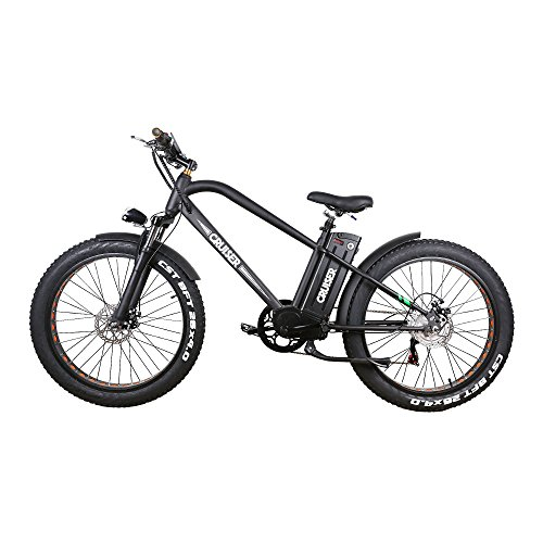 """NAKTO 26"""" Wide Fat Tire Snow Beach Electric Bicycle,Double Disc Brake Shimano 6-Speed-Gear, 3 Working Mode with 48V 10A Detachable Large Capacity Waterproof Lithium Battery E-Bike (Black)"""