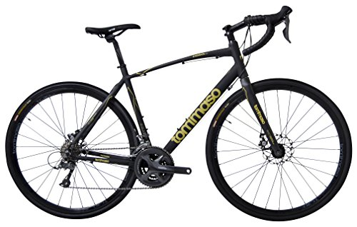 Tommaso Sterrata Shimano Claris R2000 Gravel Adventure Bike With Disc Brakes And Carbon Fork Perfect For Road Or Dirt Trail Touring, Matte Black – Medum