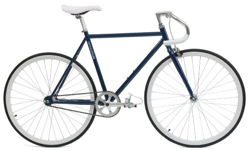 Critical Cycles Classic Fixed-Gear Single-Speed Bike with Pista Drop Bars, Midnight Blue, 43cm/X-Small