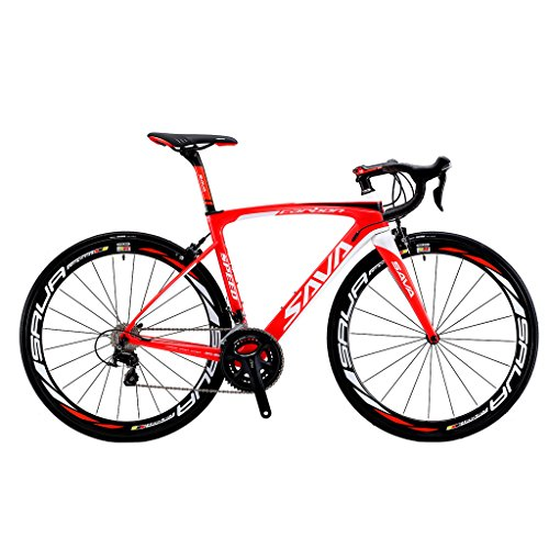 SAVADECK HERD 6.0 T800 Carbon Fiber 700C Road Bike SHIMANO 105 5800 Groupset 22 Speed Carbon Wheelset Seatpost Fork Ultra-light 18.3 lbs Bicycle Red White 50cm