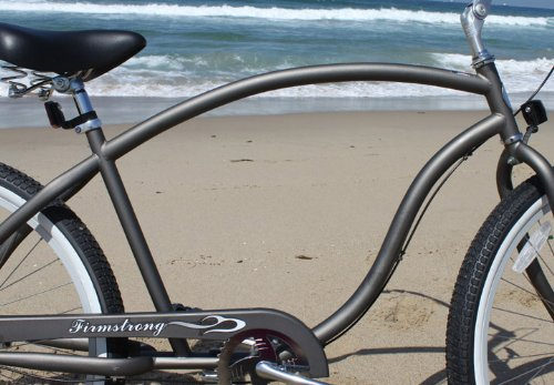Firmstrong Chief Man Three Speed Beach Cruiser Bicycle, 26-Inch, Matte Grey w/ Red Rims