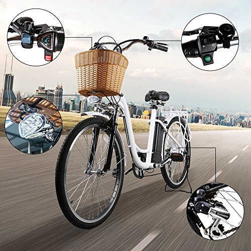 NAKTO 26″ 250W Cargo Electric Bicycle Sporting Shimano 6 Speed Gear EBike Brushless Gear Motor with Removable Waterproof Large Capacity 36V10A Lithium Battery and Battery Charger