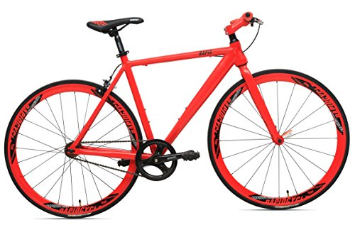 RapidCycle Evolve Fixed Gear Bike – Aluminum Flat bar (700CC, 48CM Frame, Red Color)