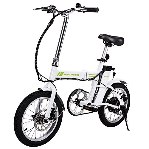 ANCHEER Folding Electric Bike, 16 Inch Collapsible Electric Commuter Bike Ebike With 36V 6Ah Lithium Battery (White)