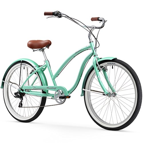 Firmstrong Chief Lady 7-Speed Beach Cruiser Bicycle, 26-Inch, Mint Green