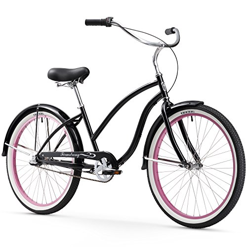 Firmstrong Chief Lady Three Speed Beach Cruiser Bicycle, 26-Inch, Black/Pink Rims