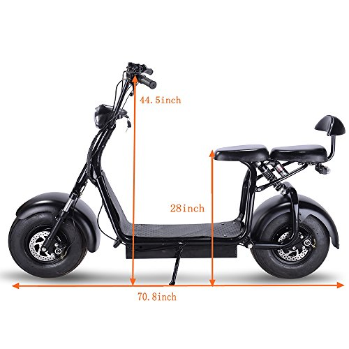 SAY YEAH Electric Scooter 48V 1000W Fat Tires City Bike,WERCS Battery Certificate Adult Citycoco with 2 Seats,Key Start and Power Display,Black