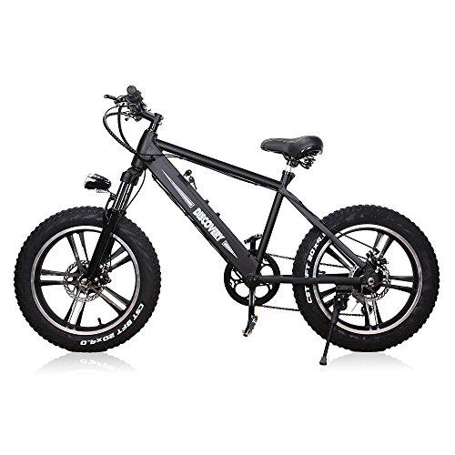 NAKTO 20″ 350W Electric Bicycle Mountain Fat Tire Ebike Shimano 6 Speed Gear Electric Bike with Smart Multifunction LED Displayer Removable and Waterproof Builtin 48V 8A Lithium Battery, Smart Lithiu