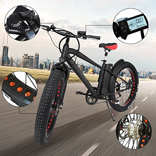 NAKTO 26″ 300W Fat Tire Electric Bicycle Shimano 6-Speed-Gear Mountain Ebike with Removable 36V10A Lithuim Battery and Charger