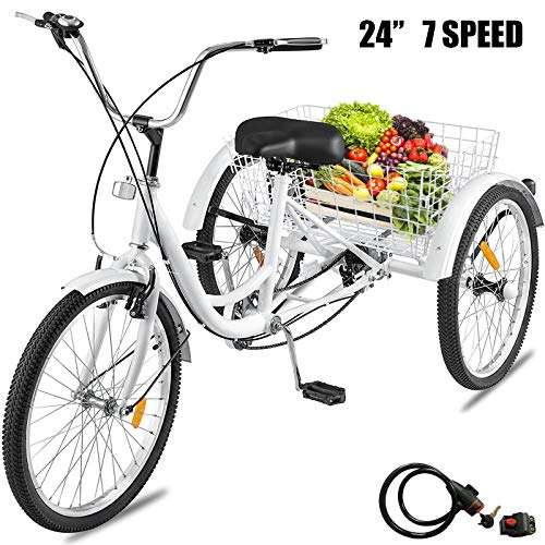 Happybuy Adult Tricycle Single Speed 7 Speed Three Wheel Bike Cruise Bike 24inch Seat Adjustable Trike with Bell, Brake System and Basket Cruiser Bicycles Size for Shopping (24inch, White 7 Speed)
