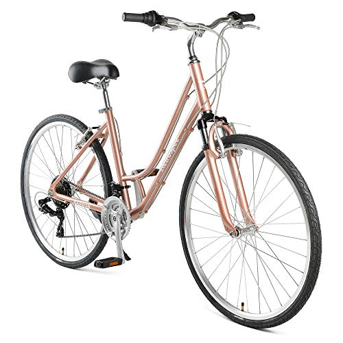 Retrospec Barron Comfort Hybrid Bike 21-Speed Step-Through with Front Suspension and 700c Wheels with Multi-Surface Tires; 16″ Small, Mauve
