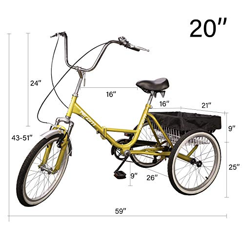 Hiram Adult Tricycle Trike Cruise Bike Three-Wheeled Bicycle with Large Size Basket for Recreation, Shopping, Exercise Men's Women's Bike (20inch/Yellow)