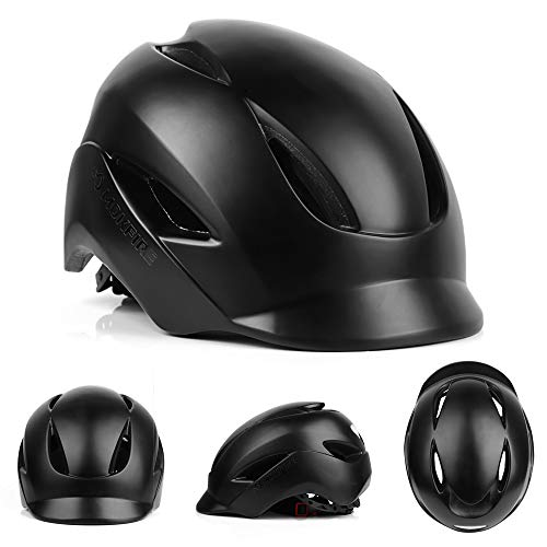 MOKFIRE Adult Bike Helmet That's Light, Cool & Sleek, Bicycle Cycling Helmet CPSC and CE Certified with Rear Light for Urban Commuter Adjustable Size for Adult Men/Women – Black