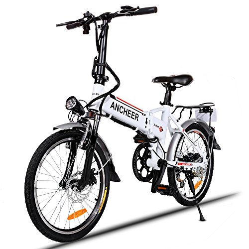 ANCHEER Folding Electric Bike with 36V 8Ah Removable Lithium-Ion Battery, 20 inch Ebike with 250W Motor and 7 Speed Gears Shifter (White)