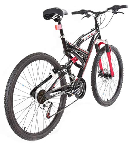 Tetran Wildland – 26 Inch Mountain Bike, Alloy Frame, Rims, and Suspensions, 21 Speed with Shimano Tourney, Unisex, White/Blue and Black/Red (Black/Red)