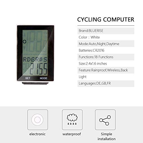 BLUERISE Multi-Function Cycling Computer Bike with LCD Display Wireless Speedometer Odometer 24 Hour Stop Watch Fat-Burn Measurement Bicycle Computer