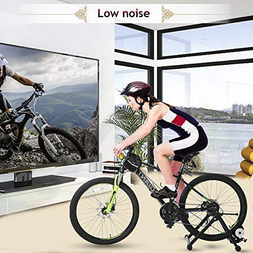 Bike Trainer Stand Bicycle Trainer Stand Bike Exercise Stand Indoor&Outdoor Road&Mountain Bike Trainer Stand for 26-28″ Or 700c Wheel Magnetic Bike Trainer with 5 Levels Resistance (Black)