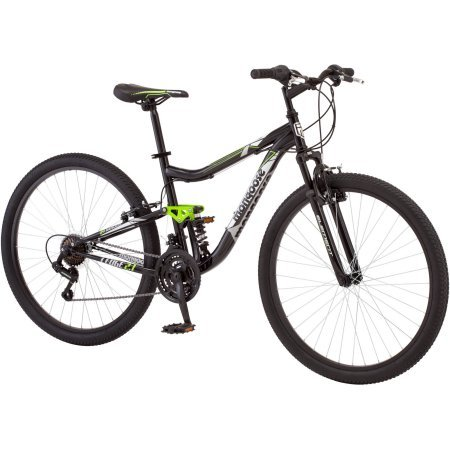 Mongoose 27.5″ R4054WMC Ledge 2.1 Men's Bike for a Path, Trail & Mountains,Black, Aluminum Full Suspension Frame, Twist Shifters Through 21 Speeds