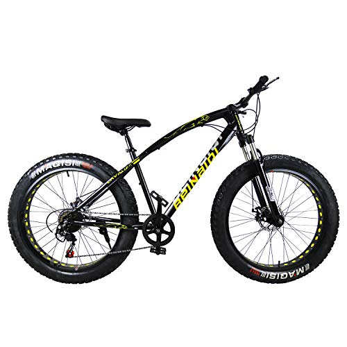SAIGULA Fat Tire Bicycle Fat Mountain Bike 26 Inch 4.0″ Tire BTM 7 Speed for Adult (FB1 Black)