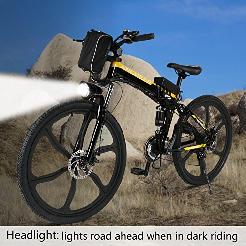 ANCHEER Folding Electric Mountain Bike with 26″ Super Lightweight Magnesium Alloy 6 Spokes Integrated Wheel, Premium Full Suspension and 21 Speed Gears