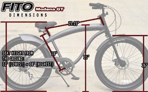 Fito Anti-Rust and Light Weight Aluminum Frame Modena GT-2 Alloy Shimano 7-Speed Shimano Disk Brakes 26″ Mens Beach Cruiser Bike Bicycle Matte Black
