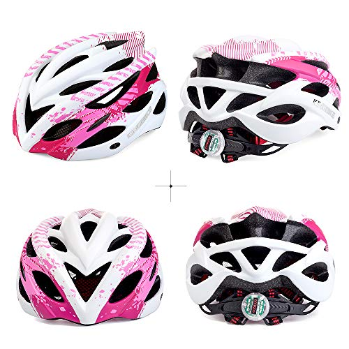 KINGBIKE Womens Bike Helmet Bicycle Cycling Helmets Road MTB Specialized Adult Helmts for Mountain Men Women with Safetly Light and Portable Bag (Pink&White, M/L(54-59CM))