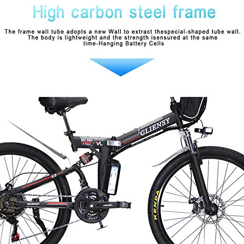 CLIENSY 26 Inch Electric Bike, 350W Folding Ebike with Removable 36V 8AH Lithium Battery for Adults, 21 Speed Shifter