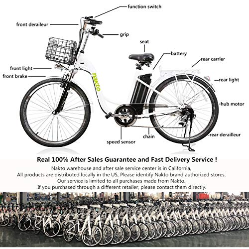 NAKTO 26″ City Electric Bicycle Assisted Bicycle for Women with Removable 36V 10A Large Capacity Lithium Battery and Charger
