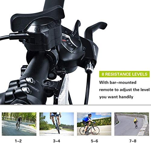 HEALTH LINE PRODUCT 8 Levels Magnetic Resistance Indoor Bike Trainer,Fits 26-28 inch 700c Bicycle Exercise Trainer Stand w Front Wheel Block and Quick Release Skewer
