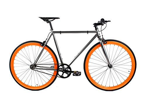 Golden Cycles Single Speed Fixed Gear Bike with Front & Rear Brakes (Blaze, 41)