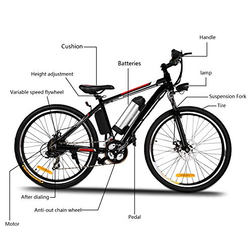 """Yiilove Electric Mountain Bike 26"""" Wheel Ebike 36V Lithium-Ion Battery, Electric Bicycle 250W Powerful Motor, Shimano 21 Speed (Type1-26-Unfoldable)"""