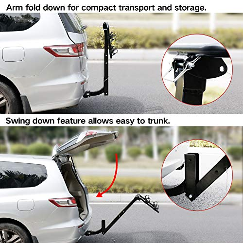 Leader Accessories Hitch Mounted 2 Bike Rack Bicycle Carrier Racks Foldable Rack for Cars, Trucks, SUV's and Minivans with 2″ Hitch Receiver
