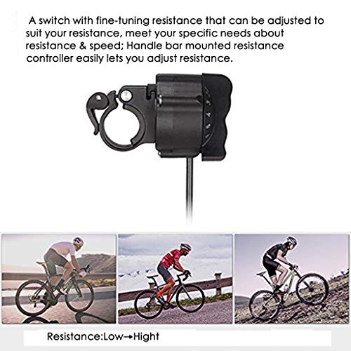 Bike Trainer Stand, Magnetic/Wire Controlled Bicycle Stationary Stand for Indoor Exercise, Quiet Noise Reduction Quick Release and Front Wheel Block, 24″-28″ (Black – Resistence Adjustable)