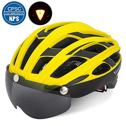 VICTGOAL Bike Helmet for Men Women with Safety Led Back Light Detachable Magnetic Goggles Visor Mountain & Road Bicycle Helmets Adjustable Adult Cycling Helmets (Yellow Black)